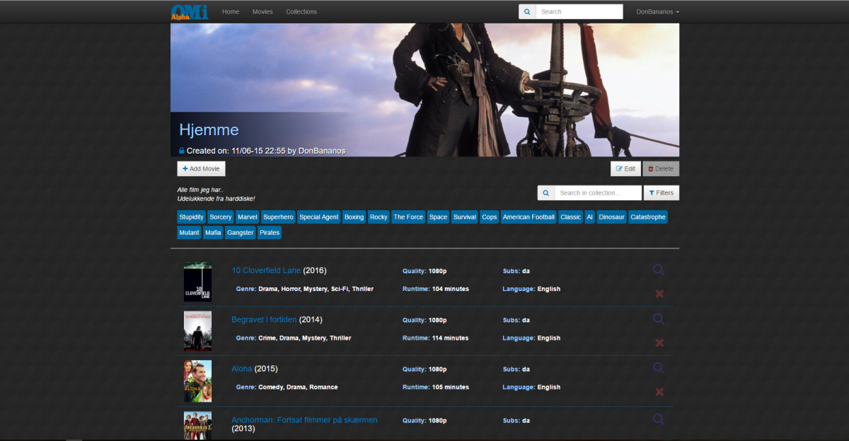 Online Movie Index Screenshot